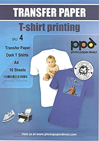- A4 Inkjet Iron On Transfers Paper / T Shirt Transfers - Dark T Shirt x 10 Sheets