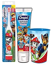 Paw Patrol Marshall Inspired 3pc. Bright Smile Oral Hygiene Set (1) Paw Patrol Turbo Power Spin Toothbrush (1) PAW Patrol Anticavity Fluoride Toothpaste Plus Bonus Paw Patrol Mouthwash Rinse Cup