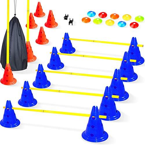 Baytiz- Haies de Coordination - Ensemble Plots + Cones + Accesoires - Parcours de Motricité Enfant, Entrainement de Foot Dressage Chien - Materiel Sportif Echelle Rythme Parcours Football