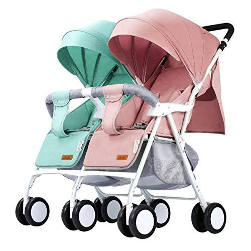 Zwillings - Kinderwagen, für Babys und Kleinkinder, nebeneinander, ab Geburt nutzbar (mit Tragetasche), schmal, schnell faltbar