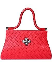 Kleio Women's Casual Broach Handbag (Red)