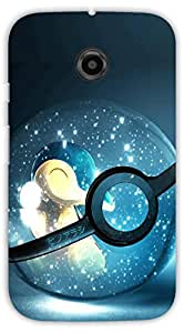 Crazy Beta Pokemon ball with shining stars design Printed mobile back cover case for Motorola Moto E2