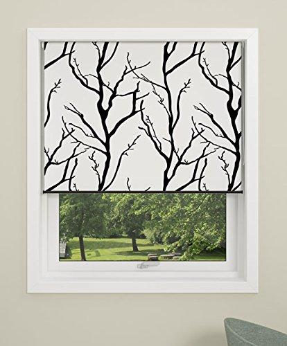 Debel Store occultant Enrouleur 100 % Polyester avec Barre inférieure en Aluminium Arbre Noir/Gris 100 x 175 cm, Tissu, Noir/Blanc, 90 x 210 cm