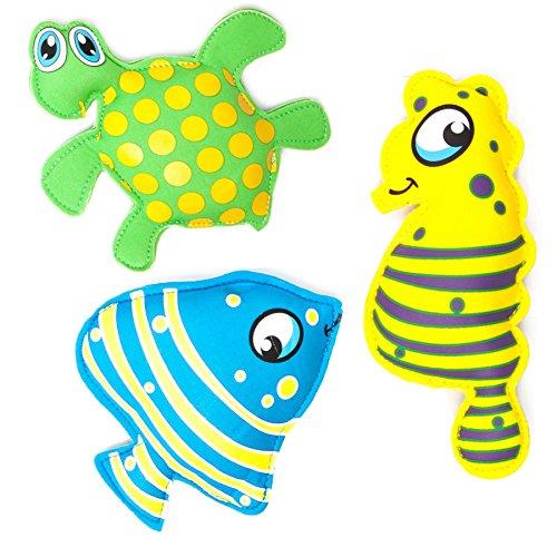Tauchspielzeug aus Neopren mit Sand befüllt, ideale Schwimmhilfe bzw. Tauchhilfe für Kinder. Das Wasserspielzeug eignet sich fürs Freibad, Schwimmbad, See oder das Meer. Mögliche Designs des Tauchset sind: Schildkröte Qualle Seepferdchen Fische Haifisch oder Frosch