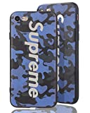 SUP Camo Case [ Kompatibel mit Apple iPhone 7/8, in Blau ] Supreme Hülle im Camouflage Design - Army Tarnmuster - Fühlbares 3D-Motiv