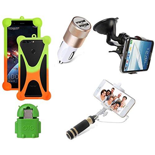 Casotec 5 in 1 Combo offer Car Mount Holder / Mobile Cover / Selfie Stick Monopod / Car Charger / OTG for Lenovo K4 Note