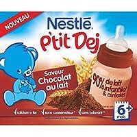Nestlé Bébé P'tit Dej Chocolat Au Lait Briques Lait et Céréales Dès 6 Mois - Pack de 6