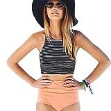 OVERDOSE Damen Hohe Taille 2 Stück Streifen Gestreift Draht frei Bikini Sets Spa Badeanzug Bademode Swimsuits(A-Black,L)