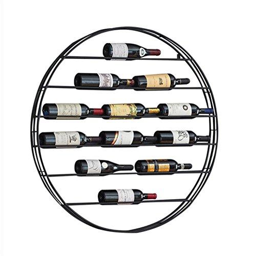 Metallo da appoggio rotondo per supporto da parete per vino loft vintage mensola portaoggetti a muro a parete | portabottiglie cube wine cabinet | decorazione della parete design vintage (nero)
