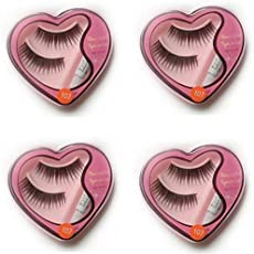 BoldnYoung Black Long False Eyelashes With Glue for Pretty Eye Makeup Combo Pack Of 4