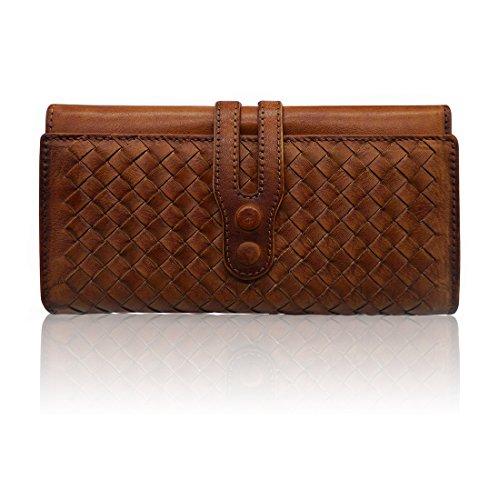 LETEULO Geldbörsen für Frauen Echtes Leder Handgefertigte Damen Geldbörse Stricken Kartenhalter(Braun) -