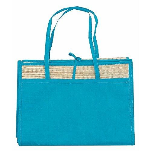 eBuyGB Stroh Sommer Strand Matte mit Tasche, Polyester, blau, 35.51X 23.01X 2.01cm (Stroh-matte Schlafen)
