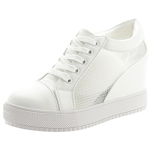 6249217c94c Dentelle Compensées Sneaker Blanche Baskets Tennis Mesh Pu Chaussures Cuir  De Wealsex Femme 5BwY0Oq