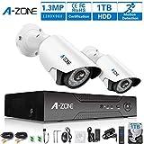 A-ZONE 2 Kanals Überwachungskamera Set 4CH Video Recorder mit CCTV Kamera 2 x 1.3MP AHD Außen/Innen mit Bewegungsmelder, mit Festplatte 1TB mit Aufzeichnung