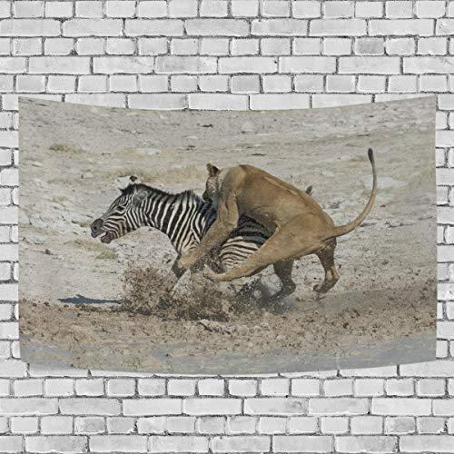 JSTEL Lioness Zebra Wandbehang Dekoration für Wohnzimmer, Wohnzimmer, Wohnzimmer, Tisch, Überwurf, Tagesdecke, Wohnheim, 100 x 150 cm, Multi, 150 x 130 cm (Zebra Dekorationen Tisch)