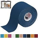 BB Sport 1 Rolle Kinesiologie Tape 5 m x 5,0 cm verschiedenen Farben E-Book Anwendungsbroschüre Elastisches Tape Set, Farbe:dunkelblau