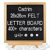 Cadrim Memotafel, Buchstaben Tafel, Letter Board Buchstaben Tafel veränderlich DIY Message Wand Dekoration Tafel 25.6 X 25.6cm mit 400 weißen Buchstaben & Zahlen Mit unterschiedlicher Größe