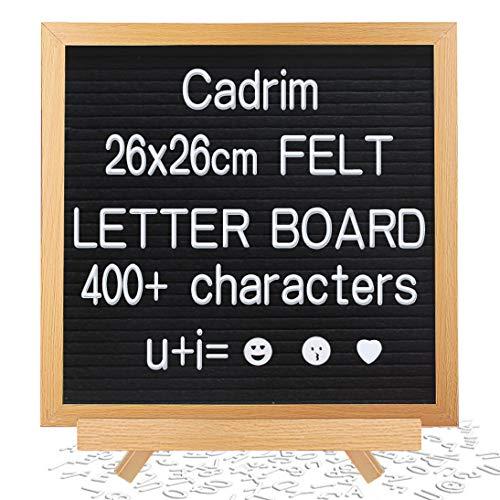 Memotafel, Cadrim Buchstaben Tafel, Letter Board Buchstaben Tafel veränderlich DIY Message Wand Dekoration Tafel 25.6 X 25.6cm mit 400 weißen Buchstaben & Zahlen Mit unterschiedlicher Größe