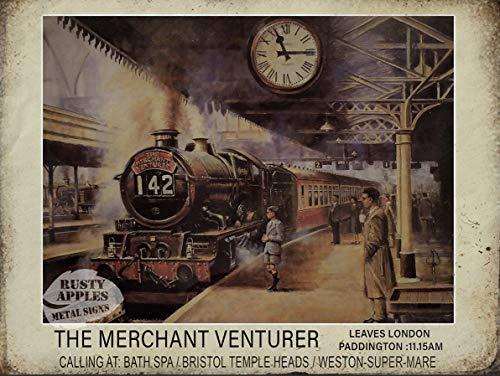 Merchant Venturer - The Golden Age of The Steam Train - Plaque en métal - 3 Tailles au Choix - Décoration d'intérieur - Cadeau Unique, 16' X 12' 400 X 300 mm