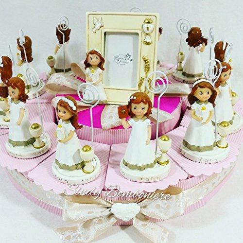 Bomboniera per comunione torta con bimba clip porta messaggio + portafoto confetti + bigliettino (torta da 12 fette + centrale)