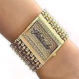 CWYPB Ladies Armband-Uhren, Mode Rhinestone Wrist Uhren Rechteckige Female Watch Metal Band Armband Armband Bangle Watch Men es Analog Quarz Watch (Goldenes Silber)