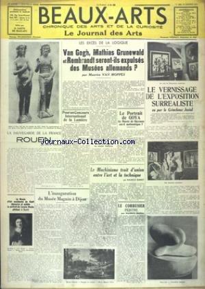 BEAUX-ARTS [No 264] du 21/01/1938 - VAN GOGH - MATHIAS GRUNEWALD ET REMBRANDT SERONT-ILS EXPULSES DES MUSEES ALLEMANDS PAR VAN MOPPES - LE VERNISSAGE DE L'EXPOSITION SURREALISTE - LE MACHINISME TRAIT D'UNION ENTRE L'ART ET LA TECHNIQUE - LE CORBUSIER PEINTRE - LE MUSEE MAGNIN A DIJON