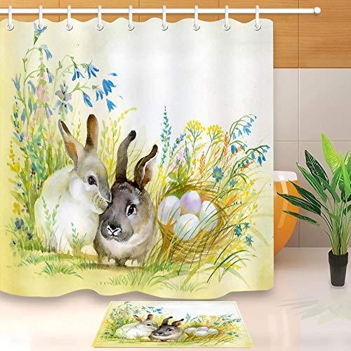 erte Aquarell Zwei Niedlichen Kaninchen Auf Gras Ei Ostern Weißen Duschvorhang Mit Matte Bad Vorhangstoff Für Badewanne Dekor 180x200cm ()