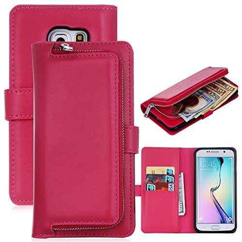 iPhone 6 Case,iPhone 6 Detachable Wallet Case,Soundmae Zipper Cash Storage Multi-function 2-in-1 Magnetic Separable Wallet Case Flip Cover With Credit Card Holder for iPhone 6[Pink] Red(ZipperStorage)