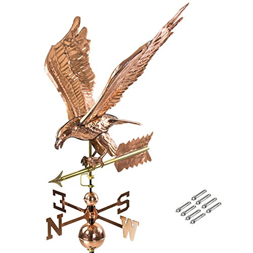 DEMA 3D Wetterfahne Adler aus Kupfer mit Fuß