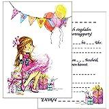 15 Einladungskarten Kindergeburtstag: Prinzessin Geburtstagseinladungen Einladungen  Geburtstag Kinder Mädchen