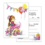 Set: 15 Einladungskarten Kindergeburtstag: Prinzessin Geburtstagseinladungen Einladungen Geburtstag Kinder Mädchen (15 Karten mit 15 passenden Umschlägen Briefumschlägen)