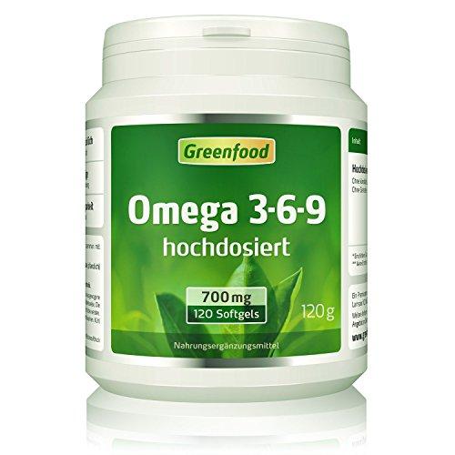 Omega 3-6-9, 700 mg, 240 Softgels, hochdosiert - Wichtig für Herz, Hirn, Augen & Cholesterin-Spiegel. Aus Lachs-, Nachtkerzen- & Leinsamenöl.