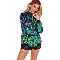 Cray Girls Womens Ladies Sequin Bomber Jacket Zip up Stylish Party Bling Baseball Biker Coat Outwear UK 8-18