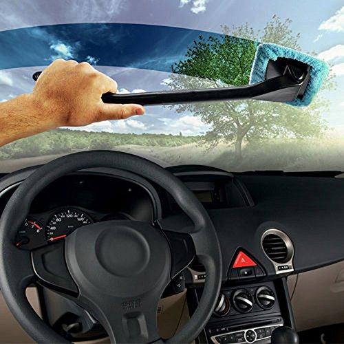 Tirol Bayeta Toalla Limpiador de Ventana Parabrisas Cristal Microfibra Cepillo Lavable Limpieza para Coche Auto, Color Azul