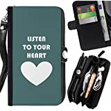 Momo Phone Case // Prämie Schwarz Flip Brief Tasche Klapp Leder Kartenhalter Schutz Hülle Case Cover für LG Stylus 2 / Stylo 2 / Green White Heart Listen Text Love Teal /