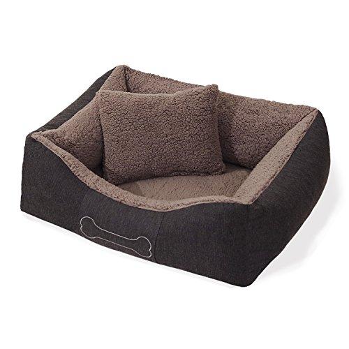 Homeoutfit24 Lucky Hundekorb Premium S 59 x 67 x 20 cm grau anthrazit Bezug waschbar mit Wendekissen weich Plüsch kuschelig Fell Hundebett Hundematte Hundedecke - 2