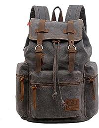 Sac à dos en cuir décontracté unisexe en toile Sac à dos en sac à dos Sac à dos en sac à bandoulière Sac à bandoulière en plein air