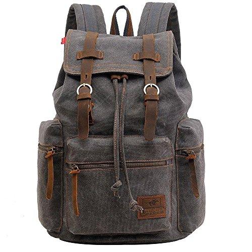 Sac à dos en cuir décontracté unisexe en toile Sac à dos en sac à dos Sac à dos en sac à bandoulière Sac à bandoulière en plein air (Gris)
