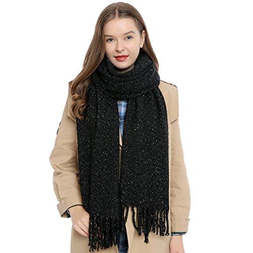 Bufanda de lana bufanda de invierno grande Oversize XXL para mujers suave y cálida - Negro