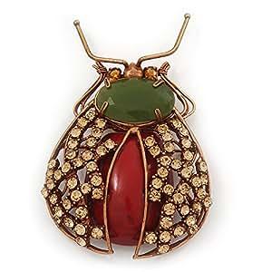 Gumbo Swarovski Kristall, Halbedelstein, 'Käfer'-Brosche, Kupfer-Ton - Länge 8,5 cm
