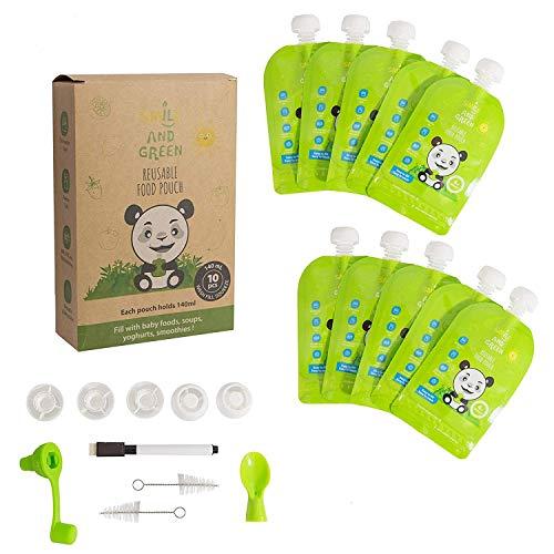 ツ Smile&Green 10 bolsas reutilizables 140ml bolsas reutilizables fruta bolsas congelar reutilizables Fácil de llenar y limpiar Ecológico & Residuo cero + 5 Bonus