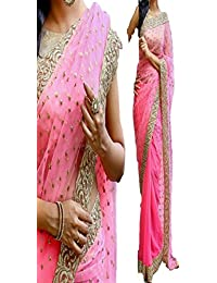Sunshine Fashion Women's Georgette Saree With Blouse Piece - SUNSA717_Pink_Free Size