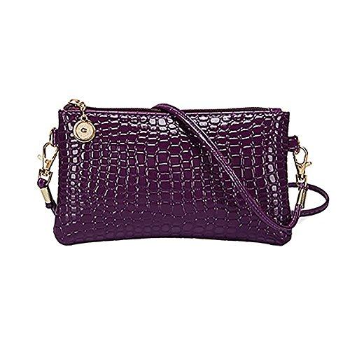 Bluelans® Damen Schultertasche PU Leder Handtasche Umhängetasche Crossbody Tasche Kleine Größe - Schwarz Lila
