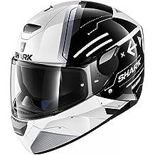 SHARK SKWAL LED DVS Full Face casco de moto–Mat kak, White Black White, small