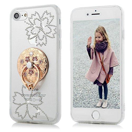 Mavis's Diary Coque iPhone 7 (4.7'') Silicone Coque iPhone 7 Transparent avec Diamant Étui Housse de Protection TPU et PC Coque Antichoc Antirayure avec Pipa Bague Ultra Mince Léger Souple Flexible Po Disque de Fleur