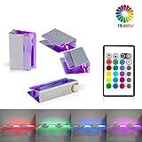 LED Glasbodenbeleuchtung,LED Vitrinenbeleuchtung 4er Set LED Clip RGB LED Farbwechsel...