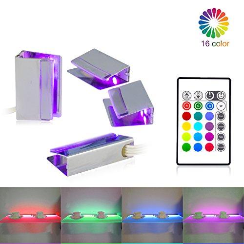 LED Vidrio de Luz, Iluminación de Borde de Vidrio RGB 4 LED Clip Luz de Piso llevada LED Cambio de Color Lámpara de Suelo de Cristal, LED Muebles iluminación