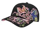 Petite Fortune Neuheit Baseball Cap Kinder Mädchen Hut Sonnenbrille mit Blume Stickerei Visier Lange UV-Sonnenschutz Cap Hip-Hop Größe verstellbar Cap Sport-/Golf/Radsport, Noir(Enfant)