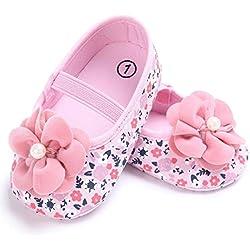 Culater® Neonata Del Bambino Fiore Stampato Scarpe Da Ginnastica Presepe (6 ~ 12 mesi, Rosa)