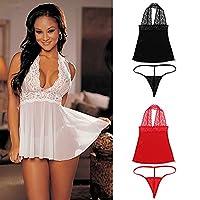 MultiWare Women Charm Sexy Lace Lingerie Babydoll G-String Underwear Nightwear White L